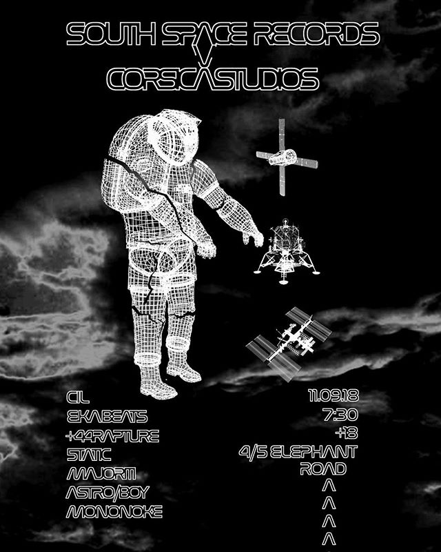 Tickets for our next live show at @corsica.studios are now available in our bio. Tickets start at £5.  Poster by @finbar_marcel 🛰🛰🛰