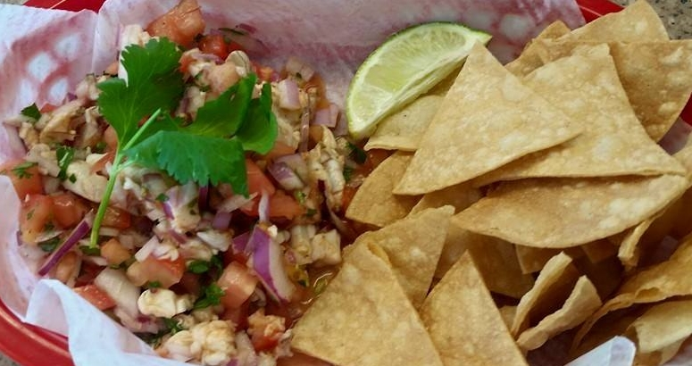 Papi's Grill Saturday/Sunday Ceviche, Served in a red basket, the way God intended.