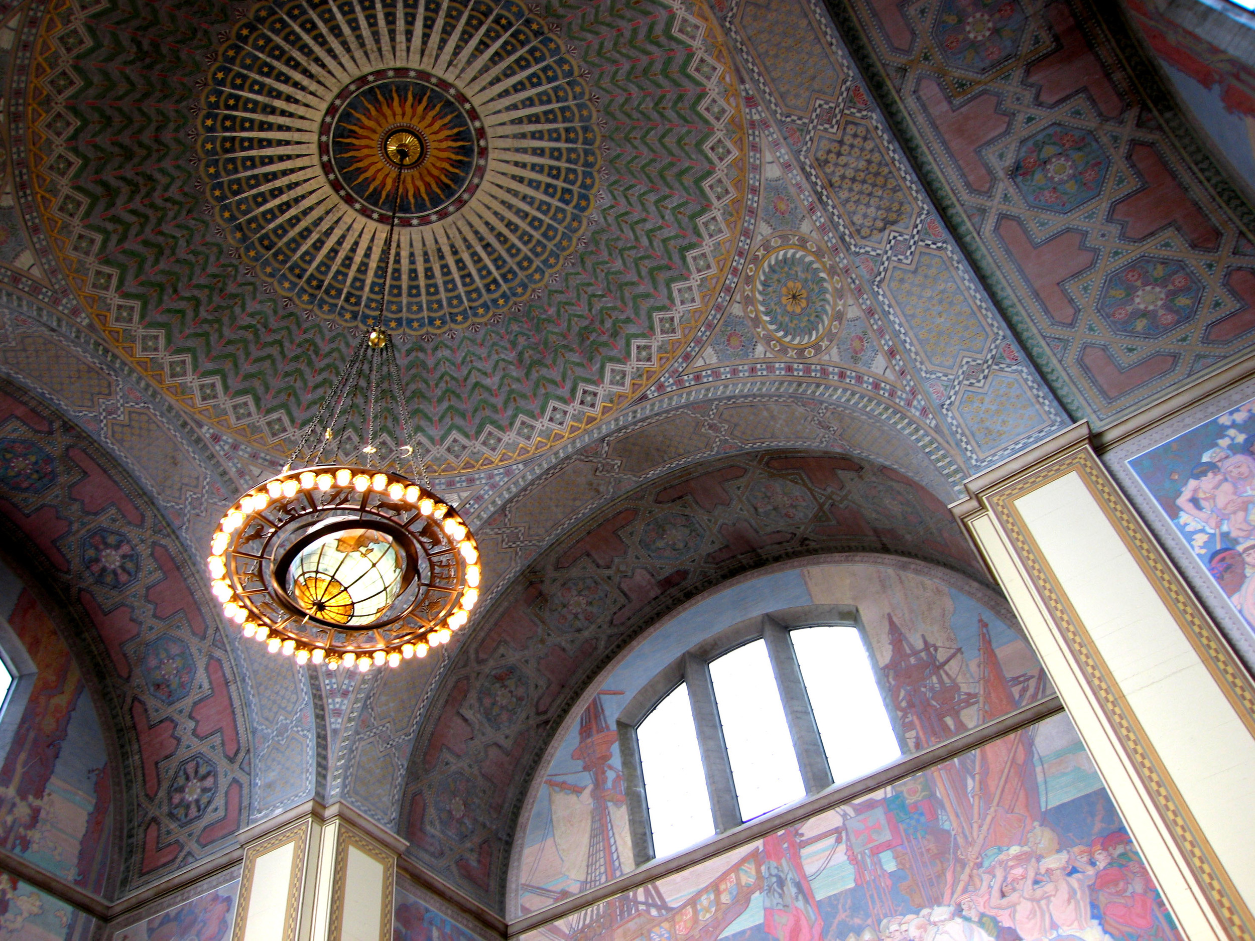 The amazing chandelier, tile mosaic and paintings in the main hallway of Los Angeles Public Library.  Redfishingboat