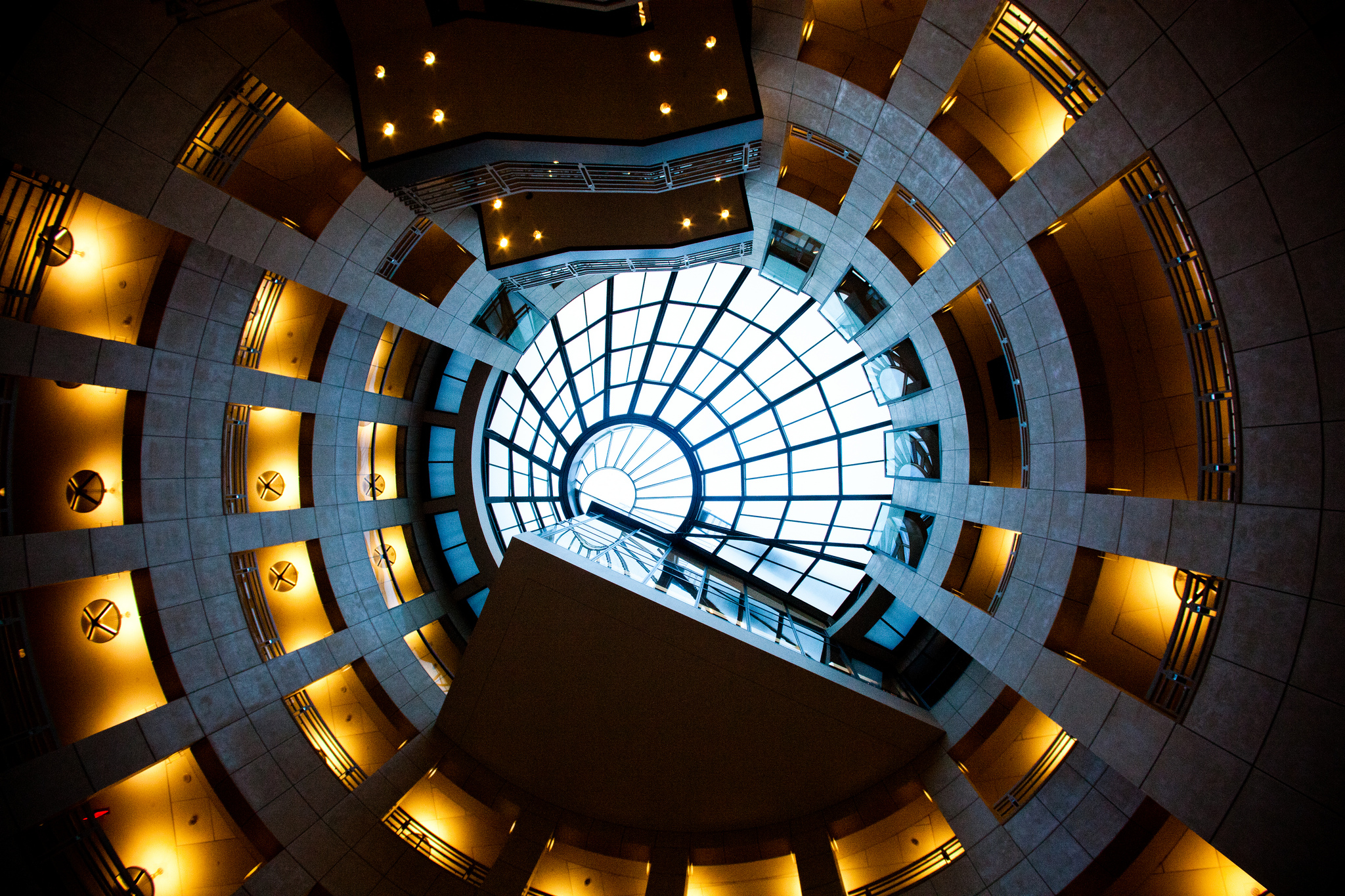The dizzying heights within the SF Public Library. Thomas Hawk