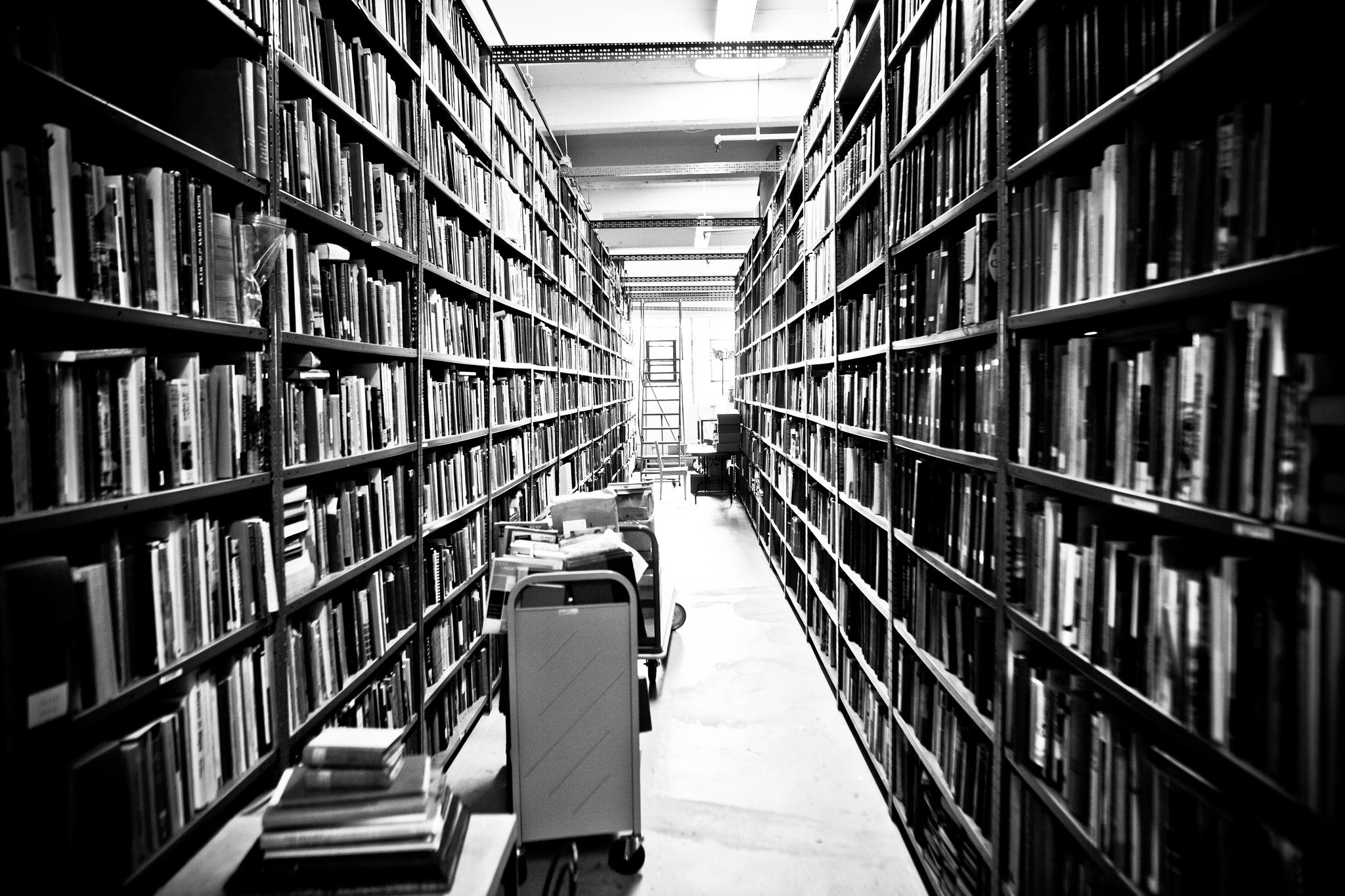 Aisle upon aisle of books in the SF Main Public Library. Thomas Hawk