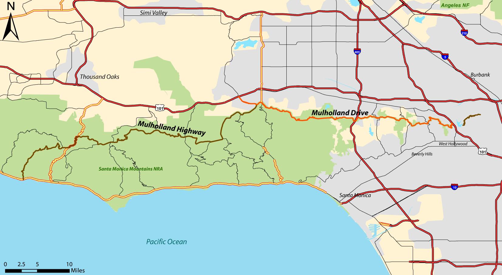Mulholland Drive (in orange) - click to enlarge. Greg Kidd