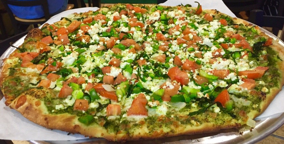 Greek and feta on gluten-free crust. Will be replacing this photo soon. Horrrible quality.