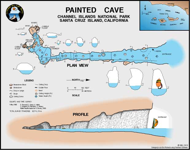 Profile and map of Santa Cruz island's Painted Cave.  Click to enlarge.   Source.