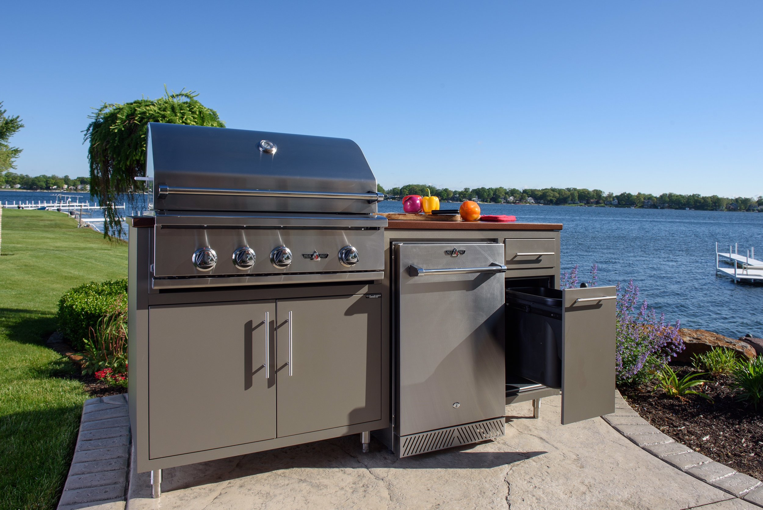 """ONLY $5,567!  Model 17COGI-72 is 72"""" wide (30"""" deep) and includes a Delta Heat 32"""" Grill (LP or NG), a 20"""" Delta Heat outdoor refrigerator, 18"""" Trash drawer (can NI), a single drawer and double door cabinet.  (With Infrared Rotisserie $5,741. With Rotisserie and Sear Zone $5,857)  Color pictured is Grey Glimmer with Silver Vein counter-top. Also available (in stock) in Cappuccino with Copper Vein counter-top!"""
