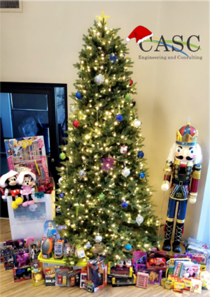 Image of christmas tree and toy drive for Loma Linda University Children's Hospital.