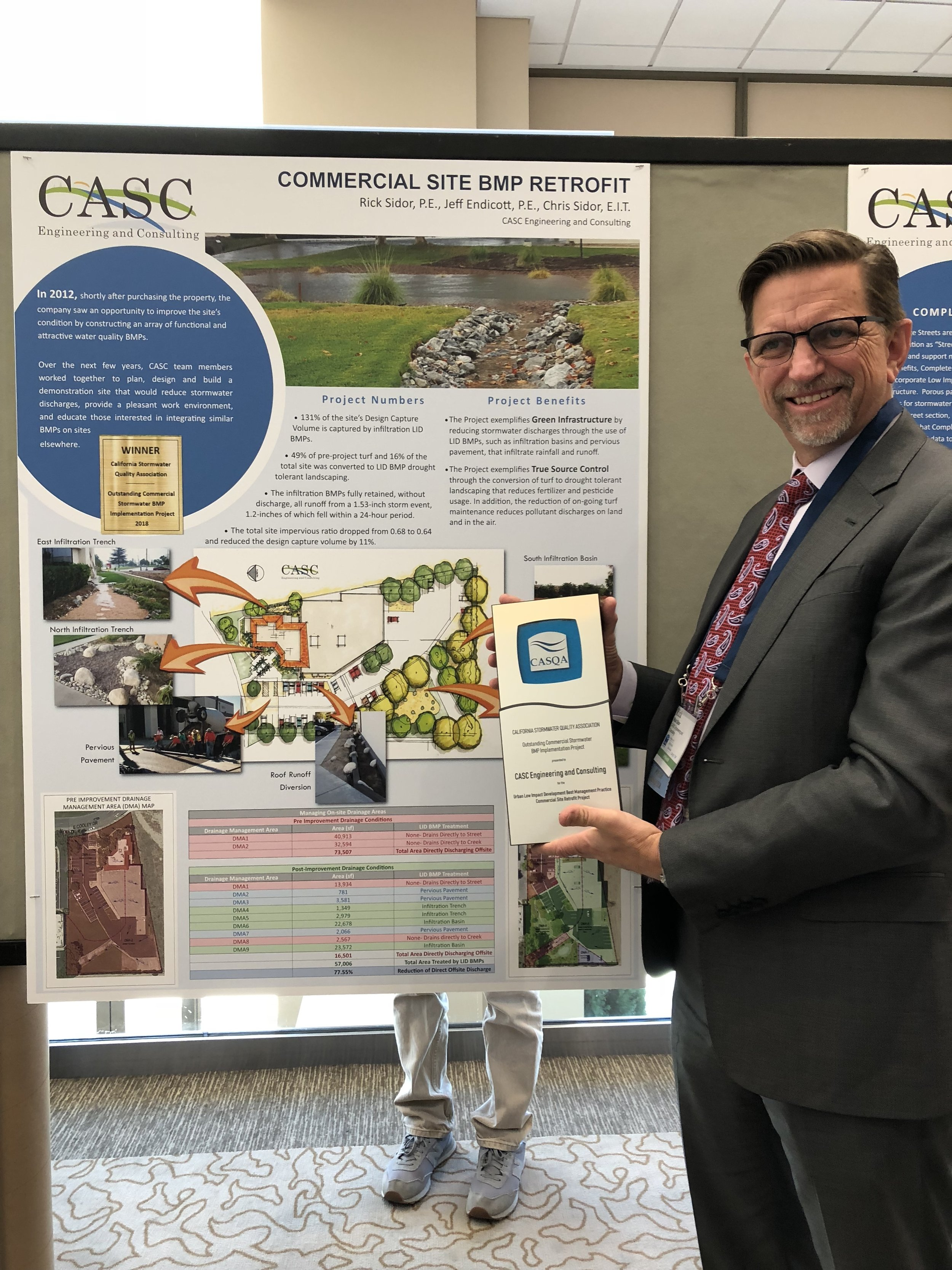 Image of Rick Sidor with 2018 CASQA award.