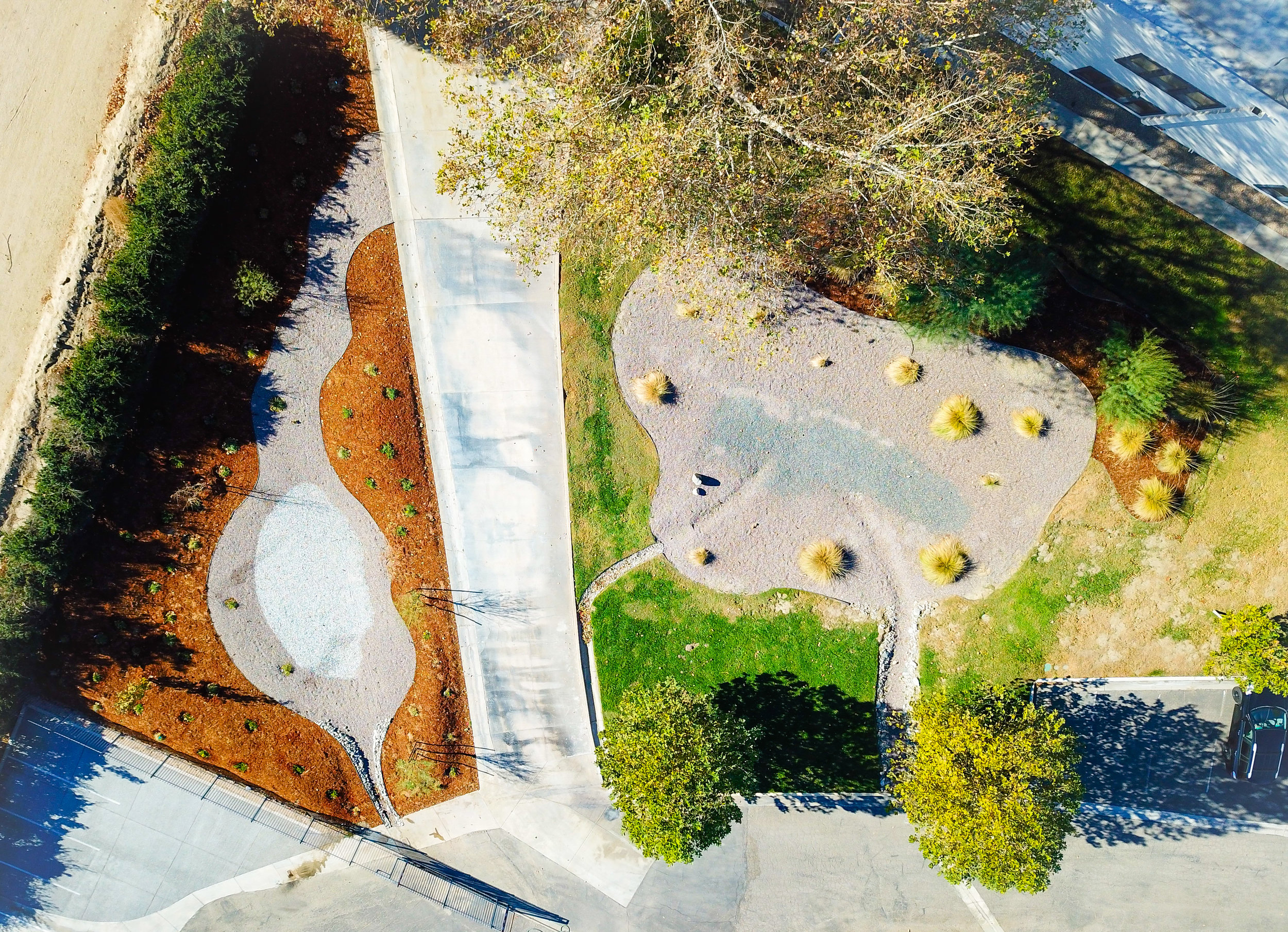 Aerial image of two of CASC's water basins.