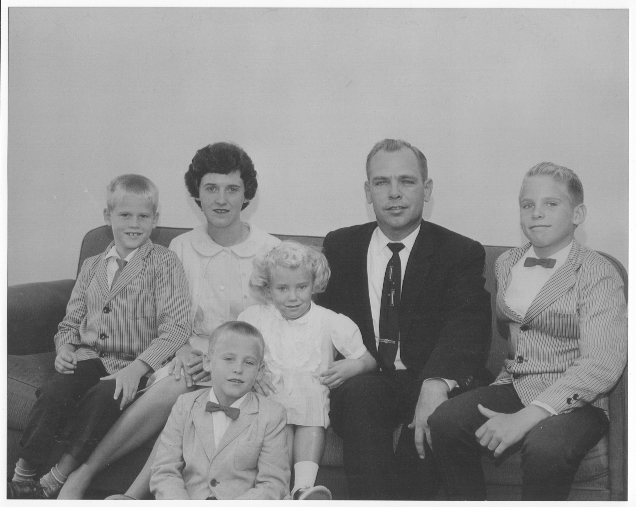 Only formal family picture taken in 1962, Chesapeake Beach, Maryland:  front, Donnie; rear, left to right, Leslie, Madelyn Louise, Cathie, James Merle, and Jimmy