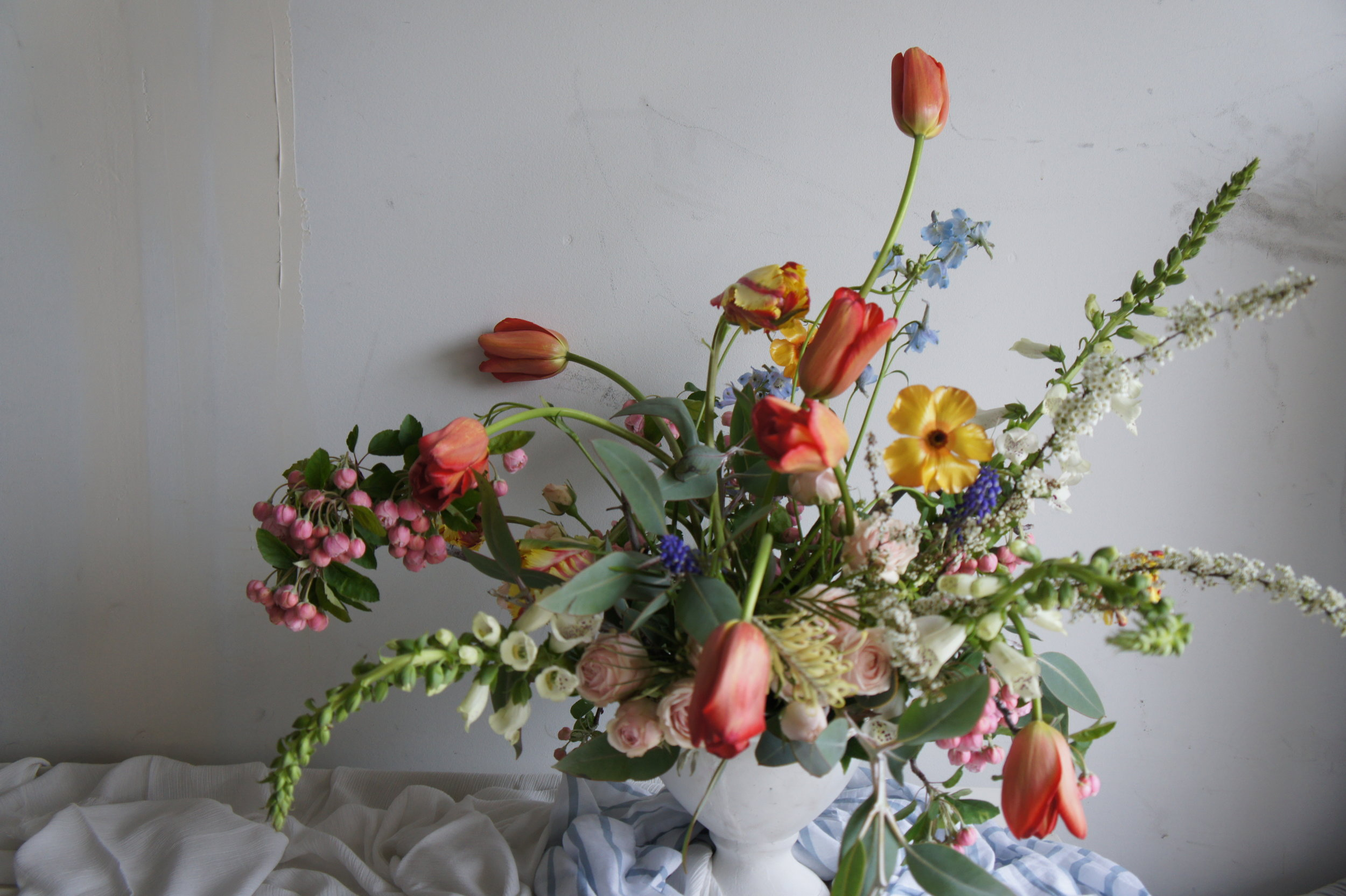 Then lastly changing it up taking out the Tulips and adding a mix of blue Delphinium…