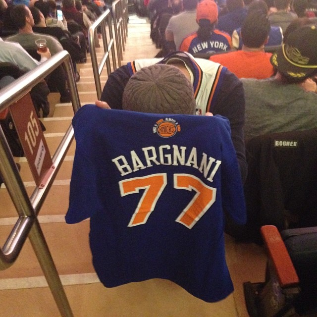 Justin at a Knicks game with his beloved Andrea Bargnani shirt, even though Andrea Bargnani was awful on the Knicks.