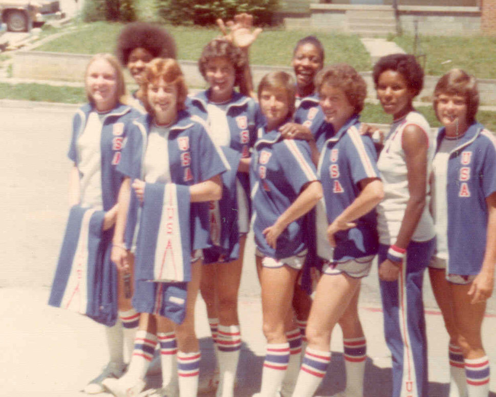 The 1976 U.S. Olympic women's basketball team enjoys a sunny walk together.