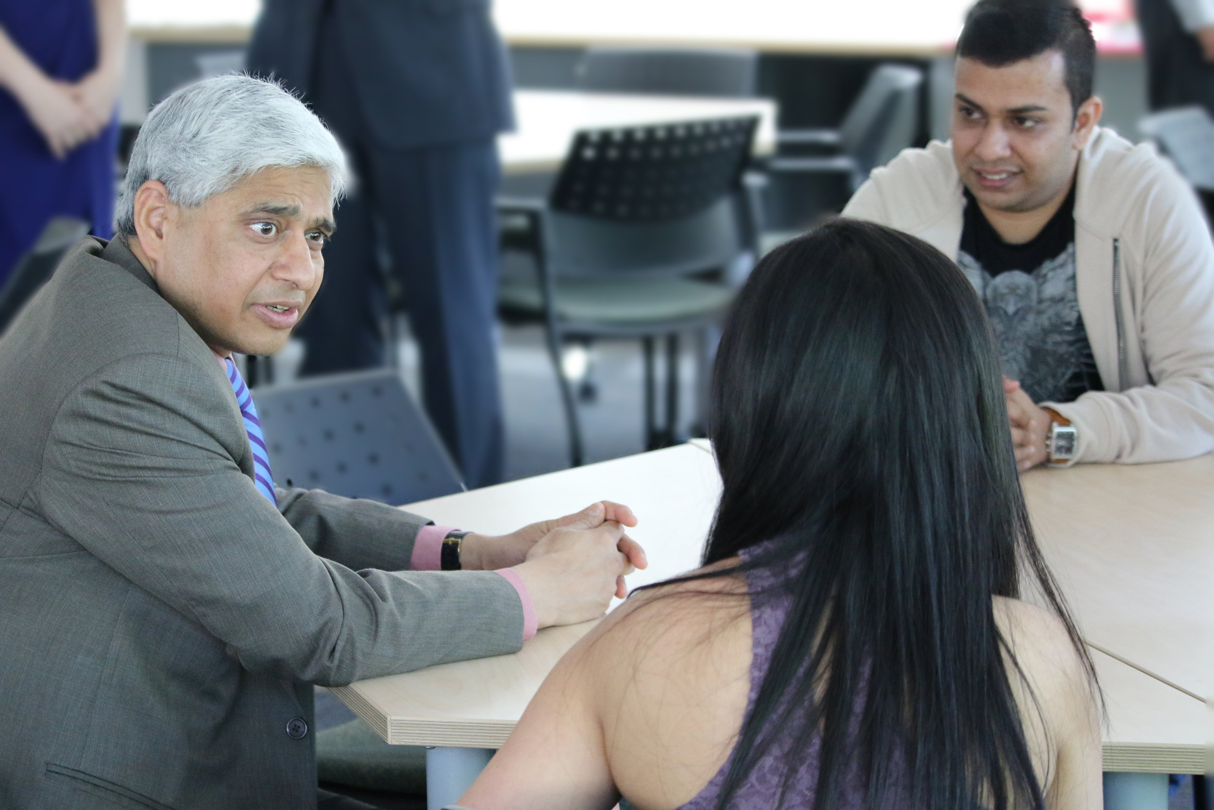 His Excellency Vikas Swarup and Saint Mary's student Mandar Lad