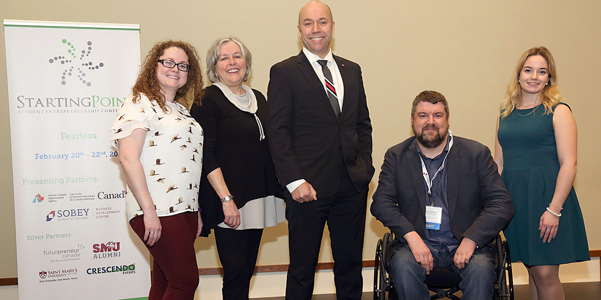 Pictured here are (l-r): event organizer Kaitlyn Touesnard; Dr. Patricia Bradshaw,  Dean, Sobey School of Business; Andy Fillmore, Member of Parliament for Halifax; Michael Sanderson and Sarah Meany, both of the   Sobey School Business Development Centre.
