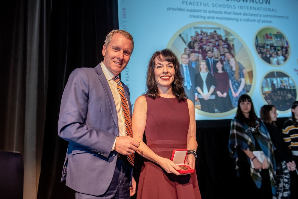 YMCA of Greater Halifax/Dartmouth has awarded its  2018 Peace Medal  to Bridget Brownlow, Conflict Resolution Advisor at Saint Mary's and President of Peaceful Schools International. YMCAs across Canada present the Peace Medal to individuals or groups who, without any special resources, status, wealth or position, demonstrate a commitment to peace leadership within their local, national or global community.
