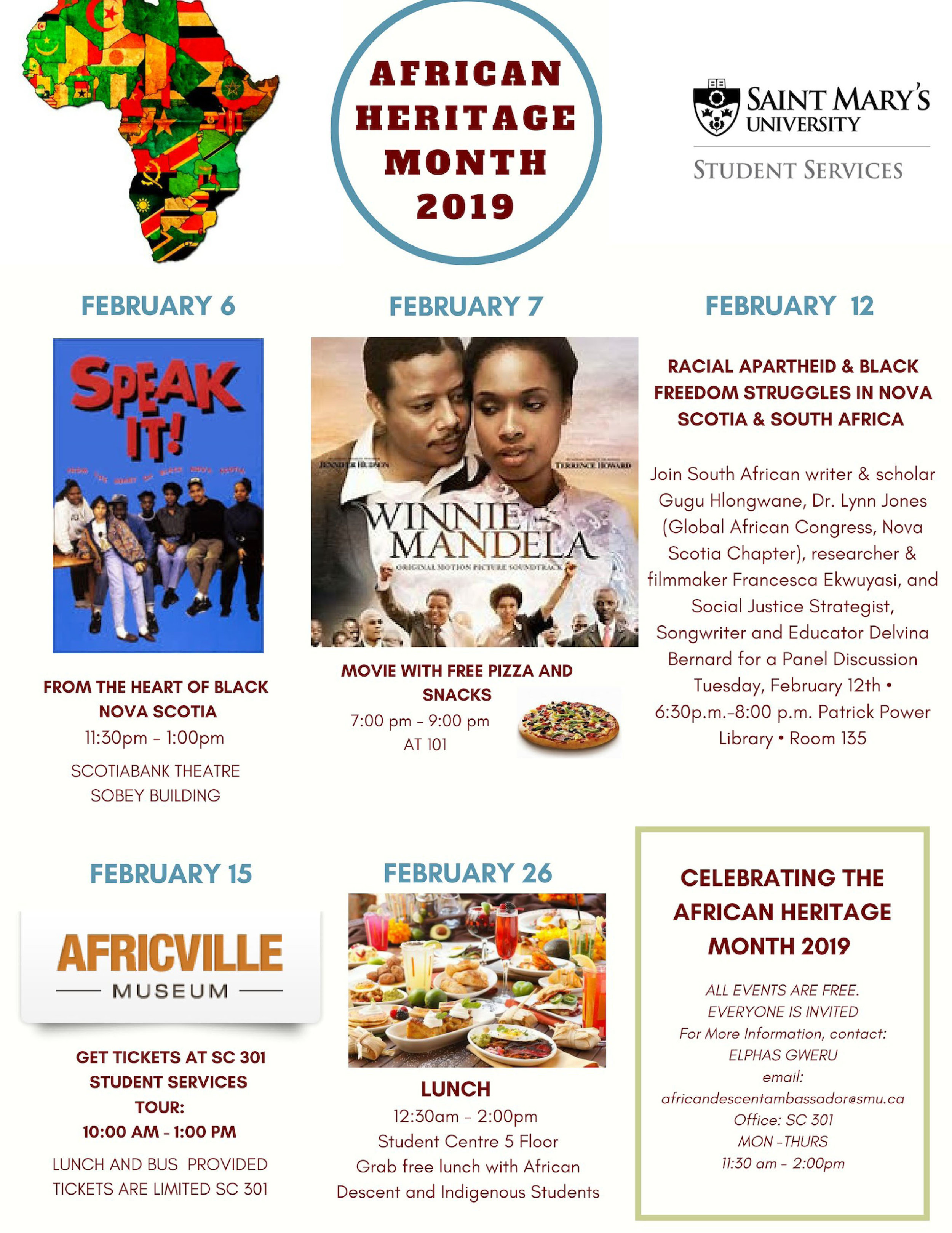 African Heritage Month events at Saint Mary's.  Click here to go to the Saint Mary's events calendar.