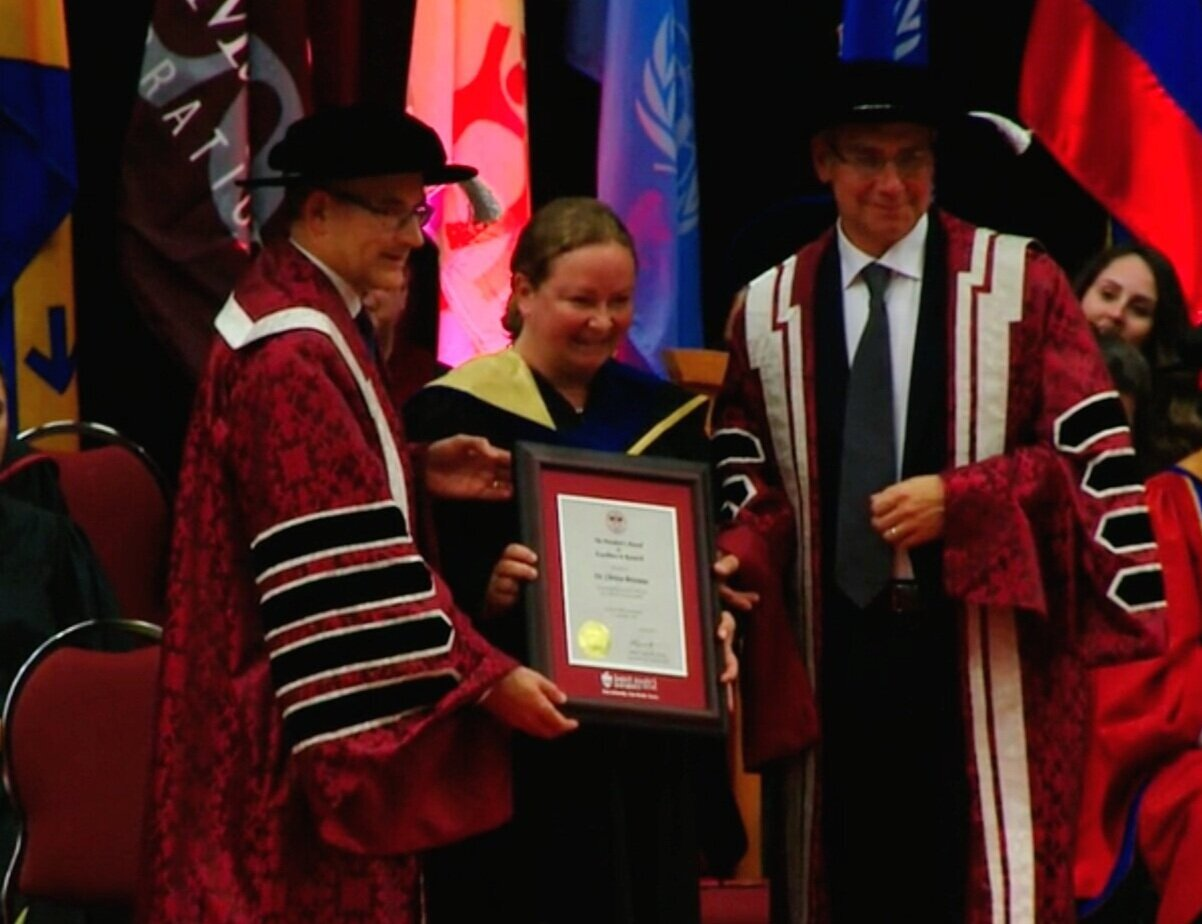 Dr. Christa Brosseau receiving the Saint Mary's University President's Award for Excellence in Research