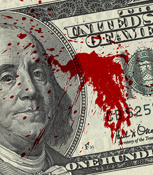 Shutterstock photo of a   bill fragment with blood spots  .