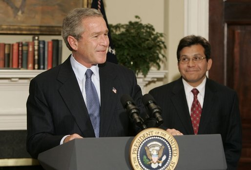 President Bush announcing his nomination of Alberto Gonzales as the next U.S. Attorney General, November 10, 2004 (Wikipedia)