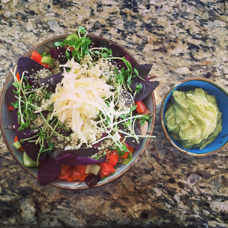 Big Ass Salad w/Homemade Avocado Dressing