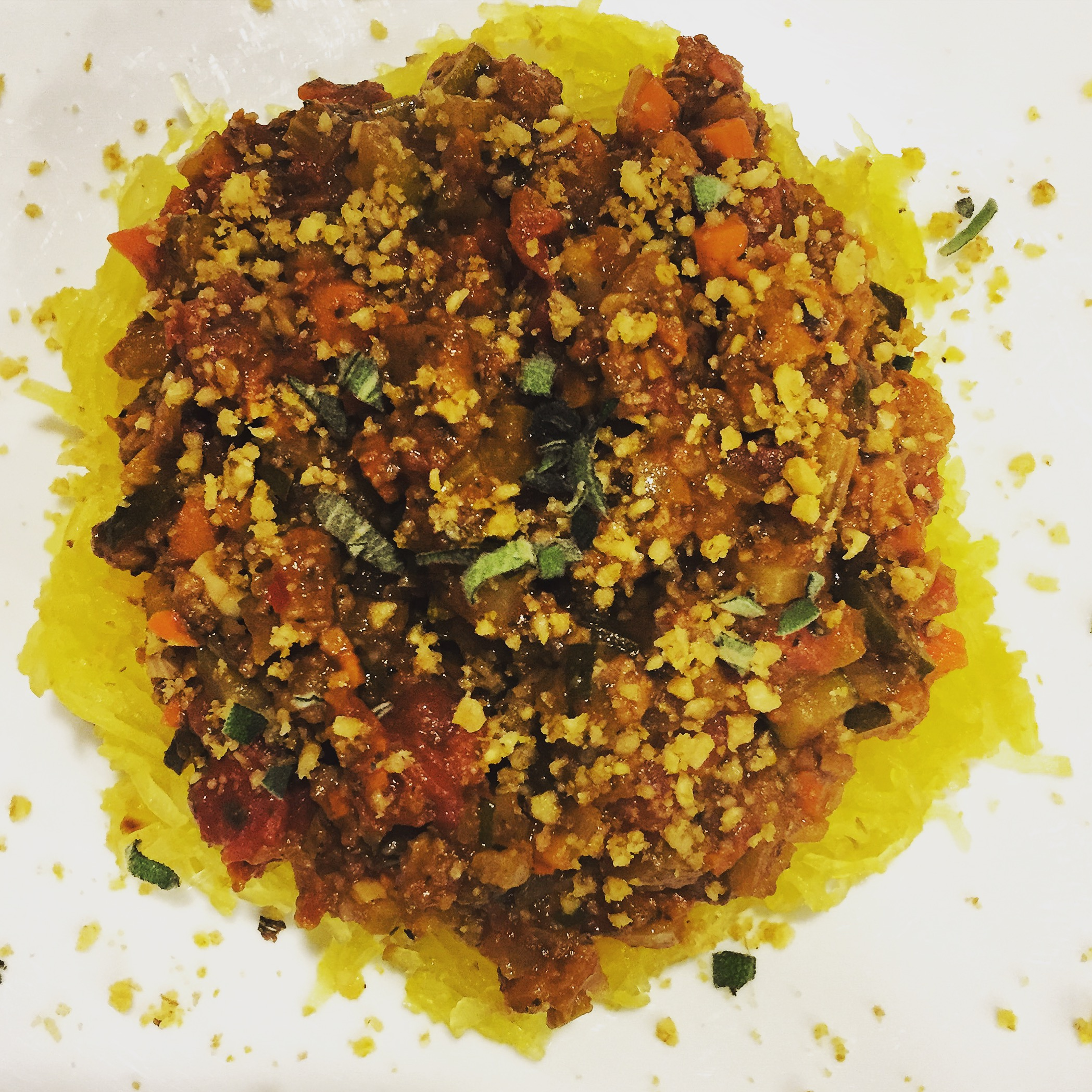 Vegetable Bolognese w/Brazil Nut Cheese