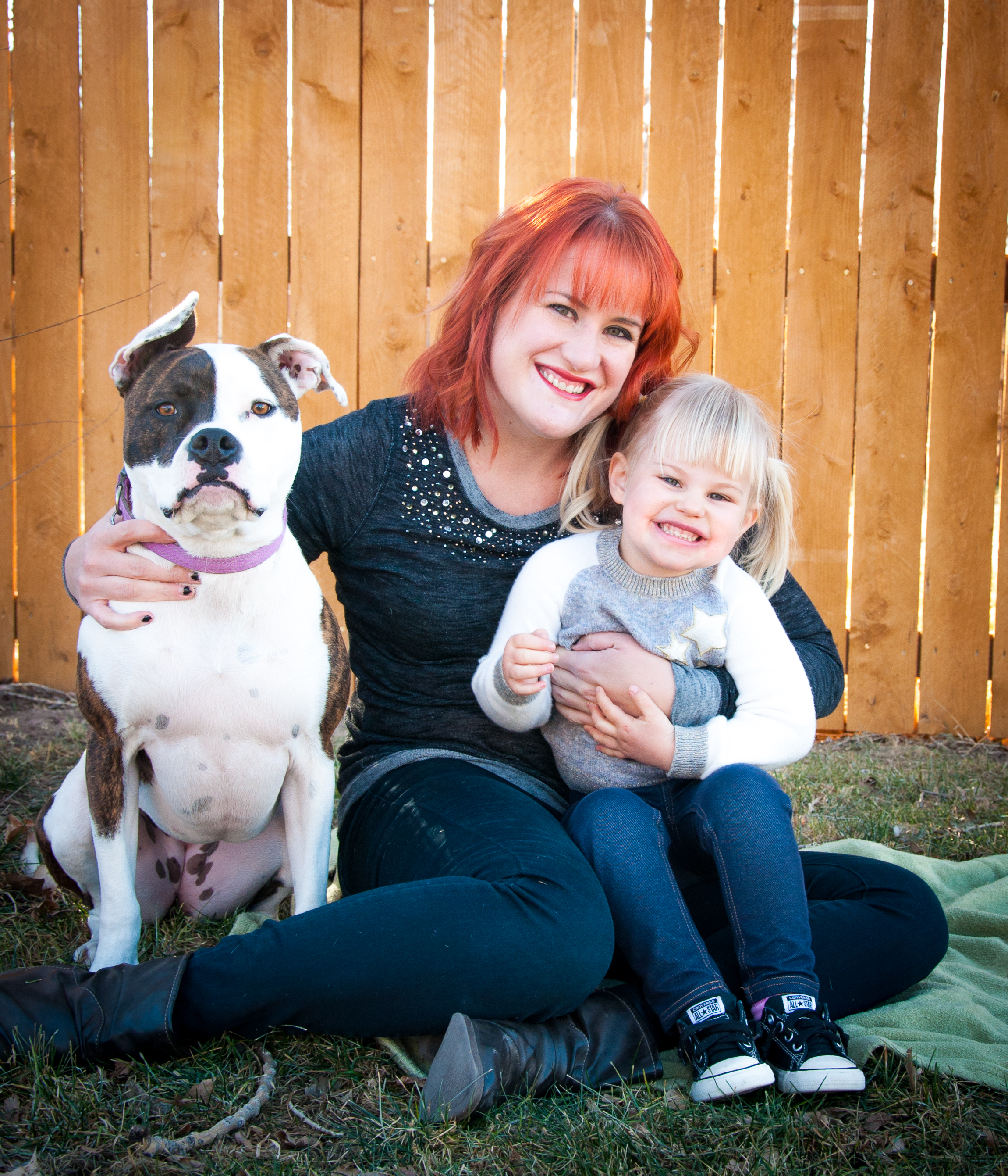 Molly and her daughter Ivy, and their dog, Mia