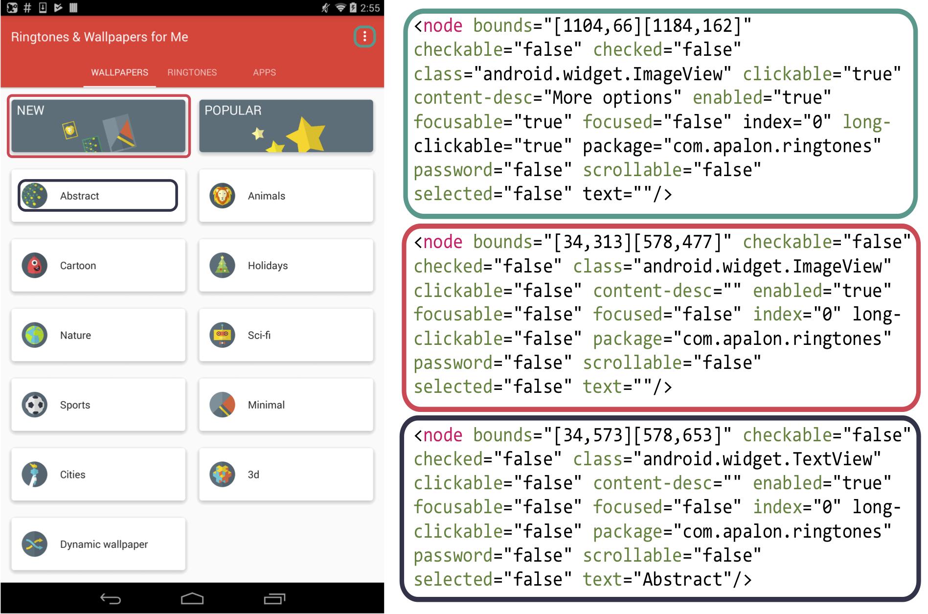 Fig 2: Example a Mobile GUI Screenshot and corresponding metadata