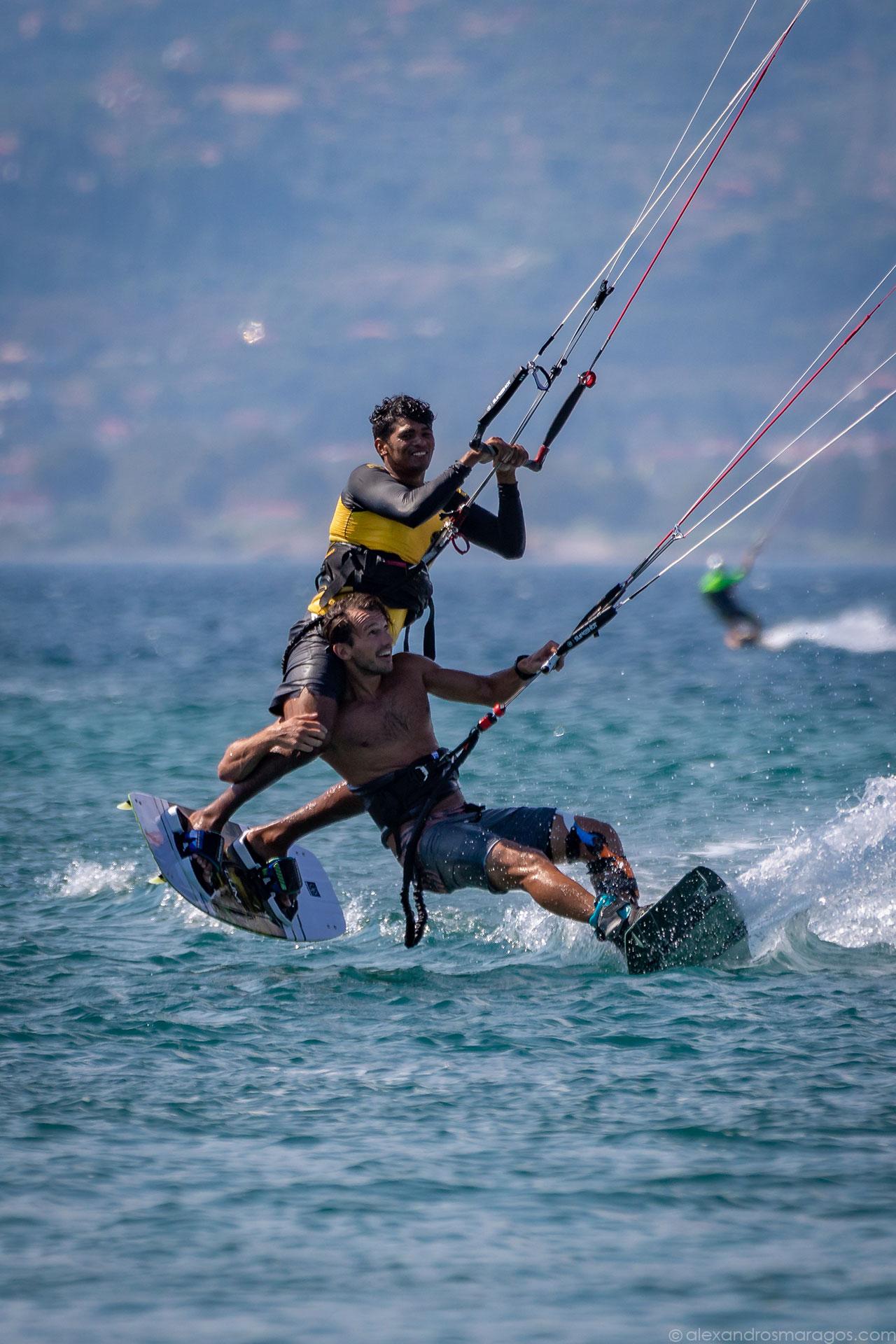 Youri Zoon & Carlos Mario at Kitesurf Festival, Cape Drepano, Greece |© Alexandros Maragos