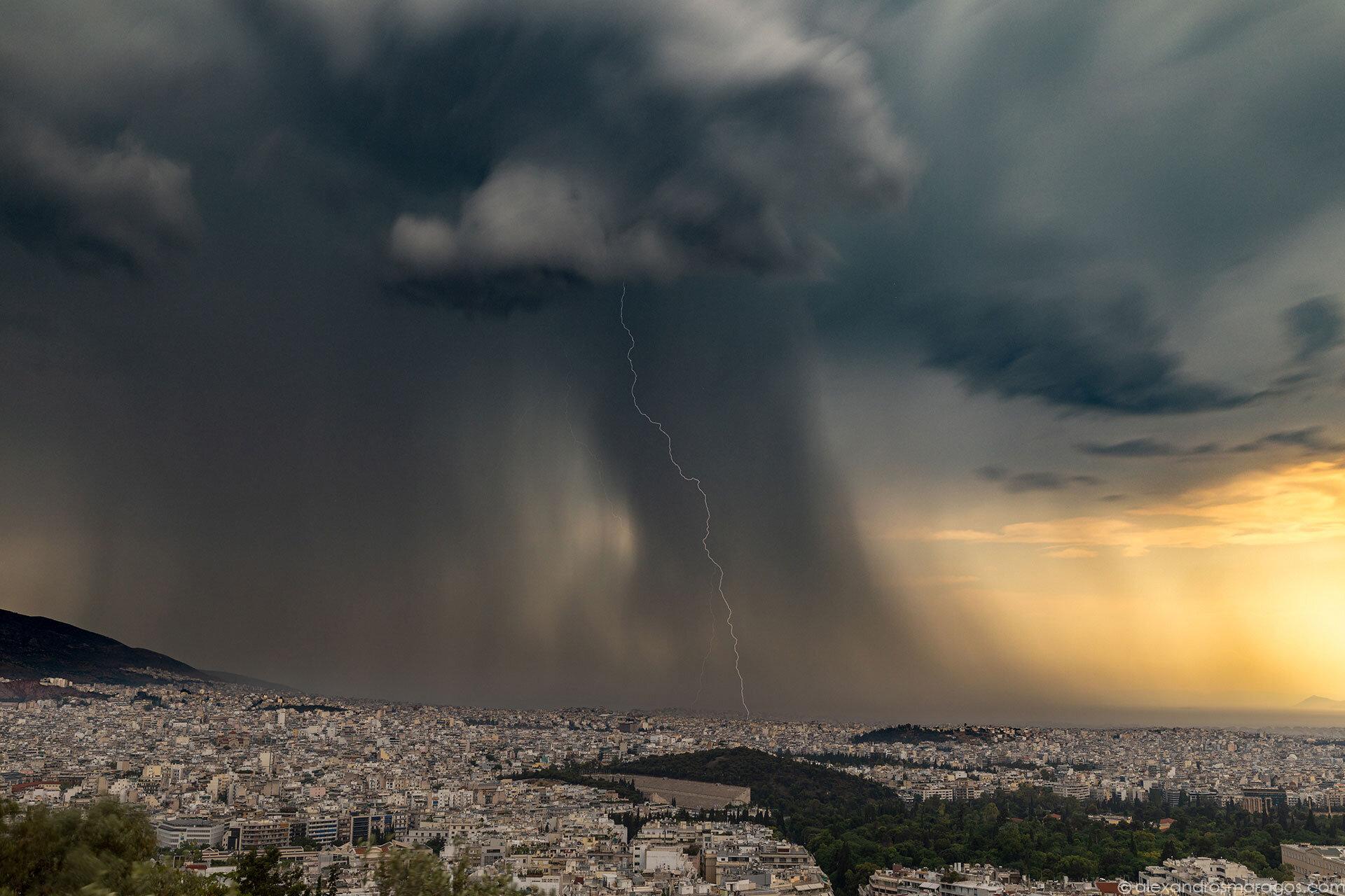 Athens Thunderstorm, Greece