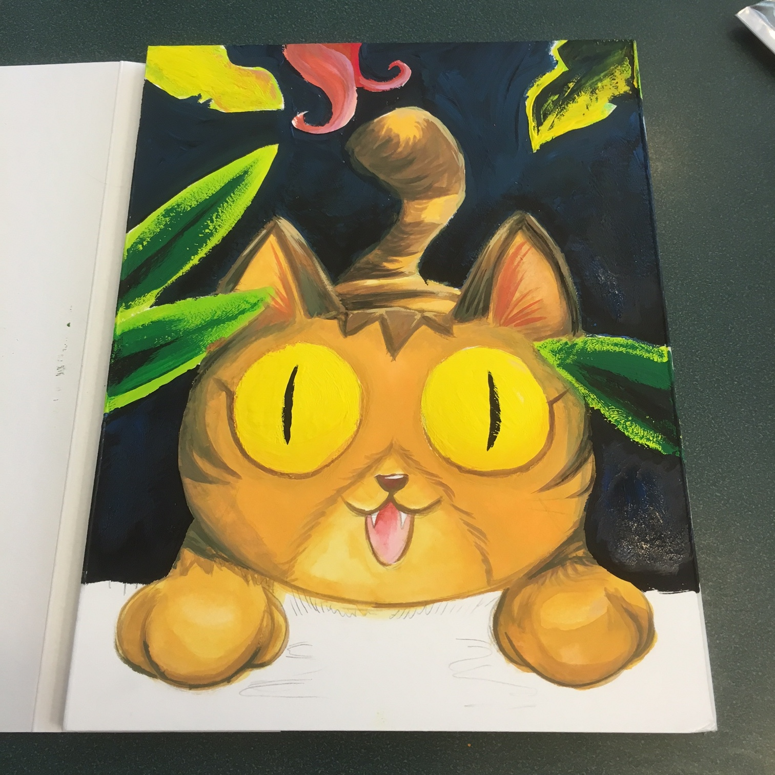 In Progress of Cat painting with Winsor & Newton Gouache