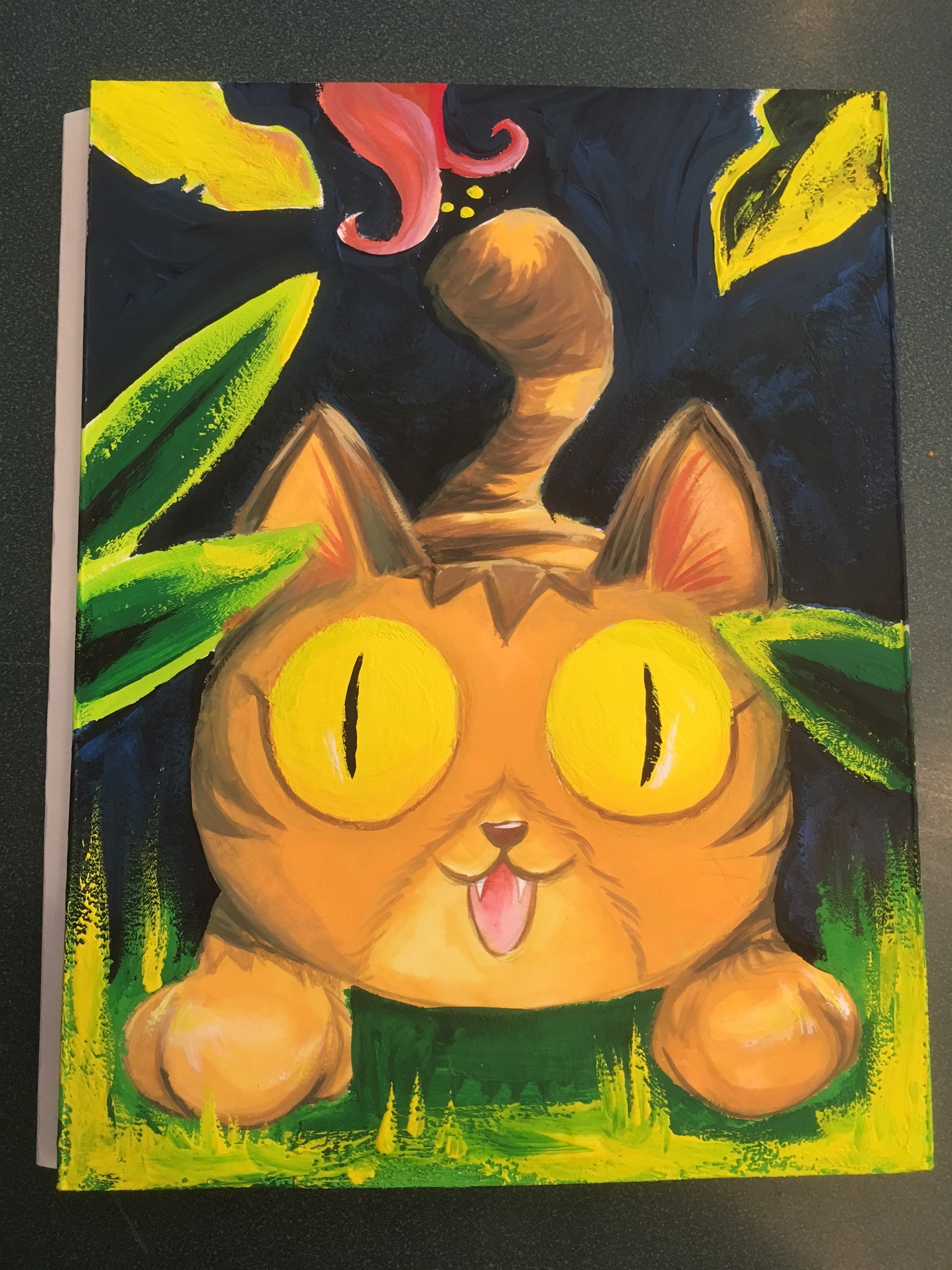 Final Cat painting with gouache
