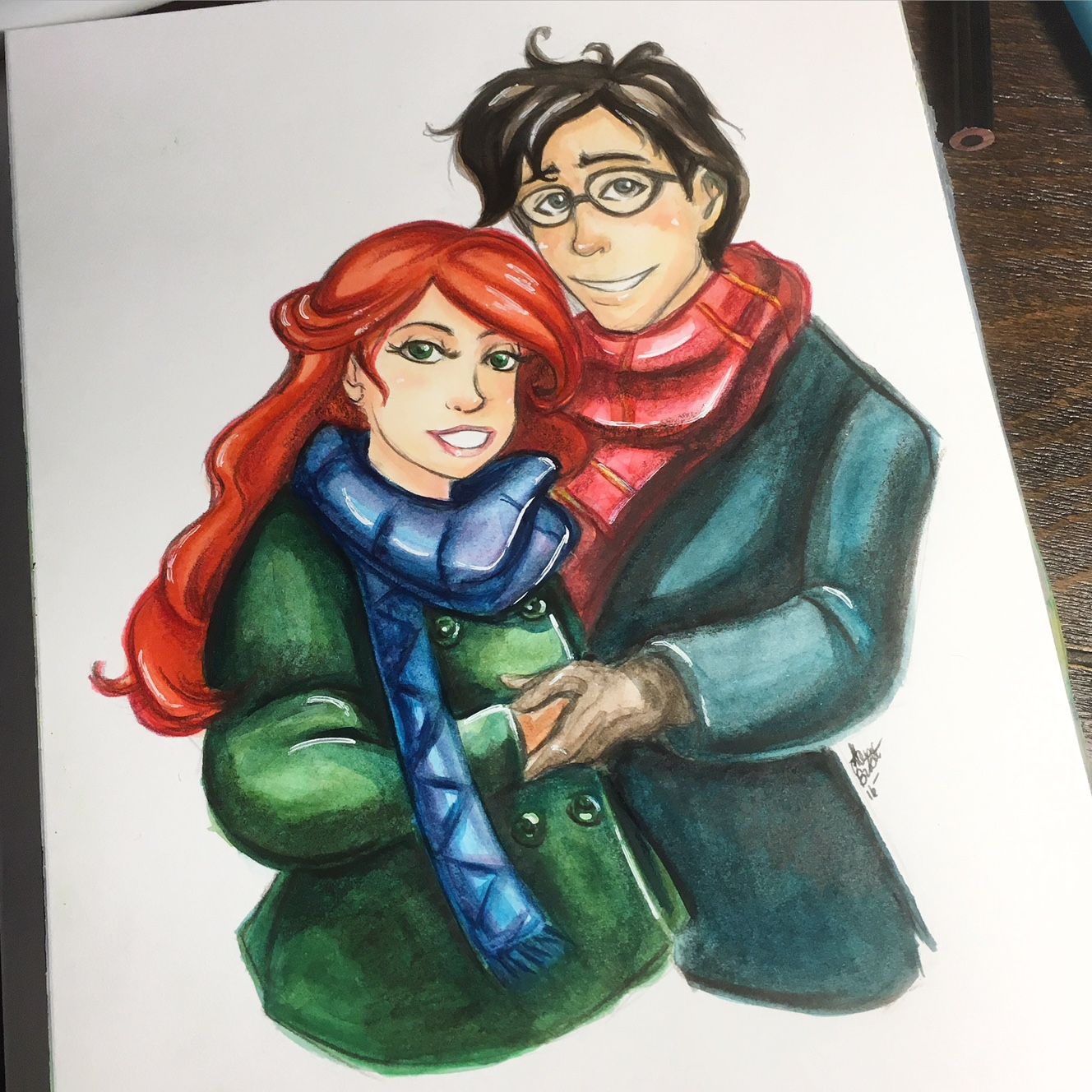 Finished Lily and James Potter mixed media piece