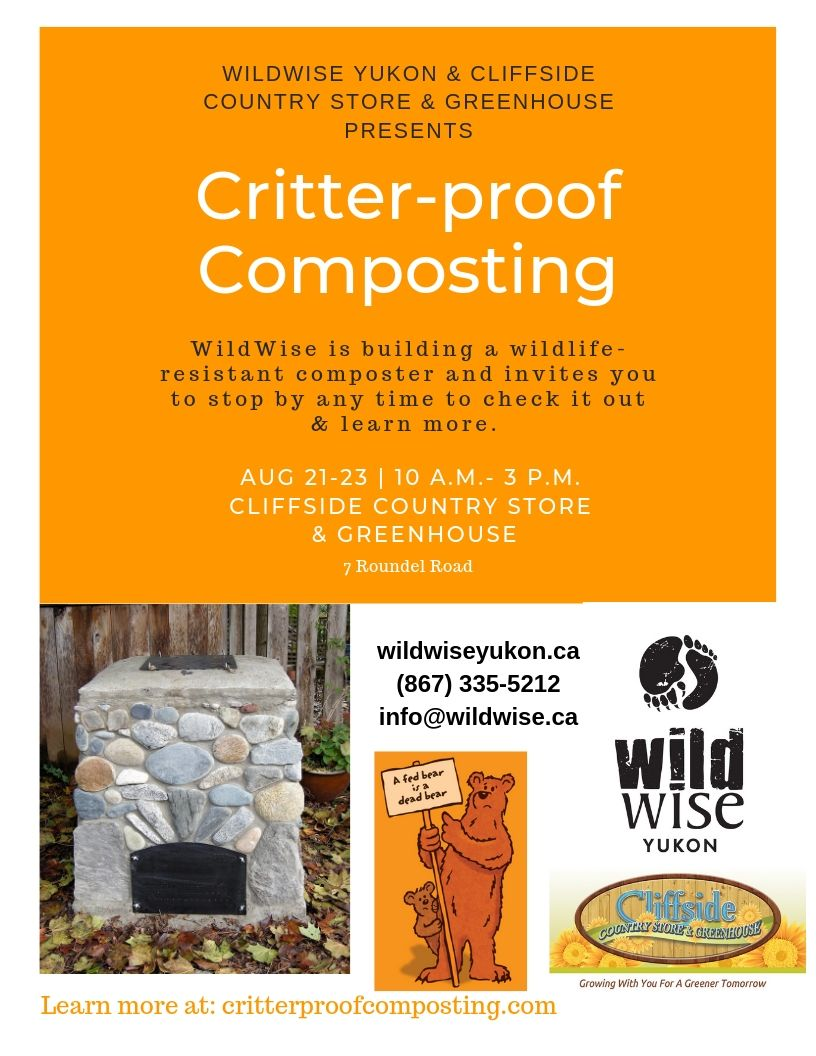 Want to feed your garden but not the bears? - Come and help or watch us build a critter proof composter!August 21-23, 10-3Cliffside Country Store & Greenhouse