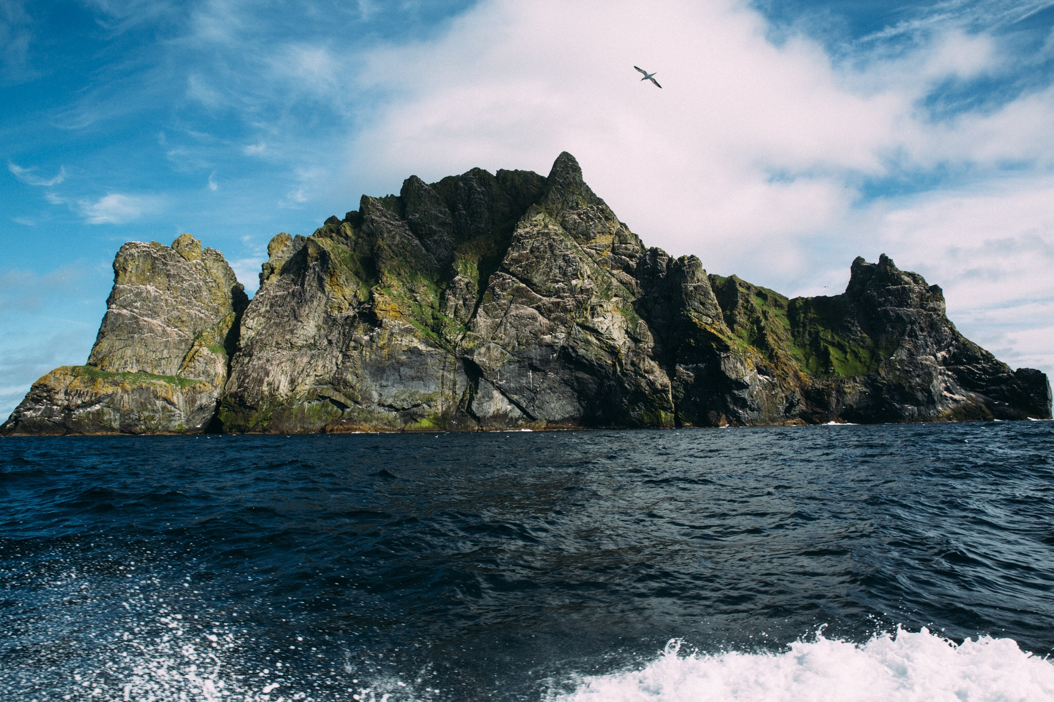 The north face of Soay, from the rocking deck of our boat, Integrity.