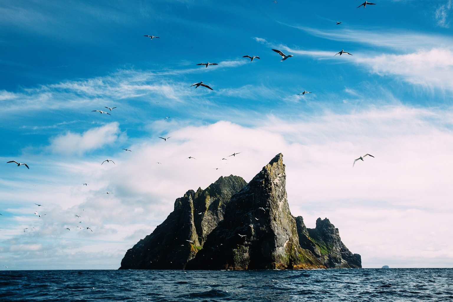 Stac An Armin in the foreground with Boreray behind. This is around 5 miles from Hirta, a distance covered by native St Kildans in rowing boat, across the open Atlantic. I thought our boat was rough! This isn't a spot the tour boat usually visits, but having seen this perspective before, I asked Derek if he could get us there for this shot. This is home to the largest Norther Gannet population in the world (1/7th of the total population, all hanging out hoping that we were a fishing boat)