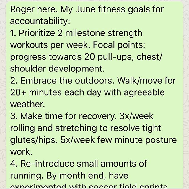 As seen on our Summer of Relentless WhatsApp group... 🚀 It's good to have goals! What are yours this June? . . . . . #relentlessfitness #personaltraining #smallgrouptraining #healthcoaching #racetraining #corporatewellness #realworldfitness #highperformingpeople @iam_relentless