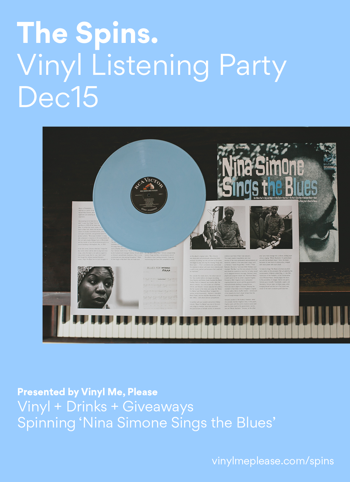 Enjoy a night listening to soul, jazz, and the blues, meeting the local vinyl-loving community, and drink specials, & get the chance to walk away with a free copy of the exclusive Nina Simone record.         Event will run from 6 - 9 PM on Thursday, December 15   at   Vinyl Tap at 2038 Greenwood Ave., Nashville, TN 37206.         In the spirit of the holiday season, g  ive the gift that keeps on giving, and you'll be loved forever...      http://www.vinylmeplease.com/gift/