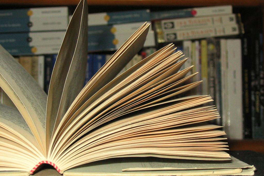 g_leon_h  / Creative Commons  [Image description: a photograph of a book with the pages open wide and fanned out]