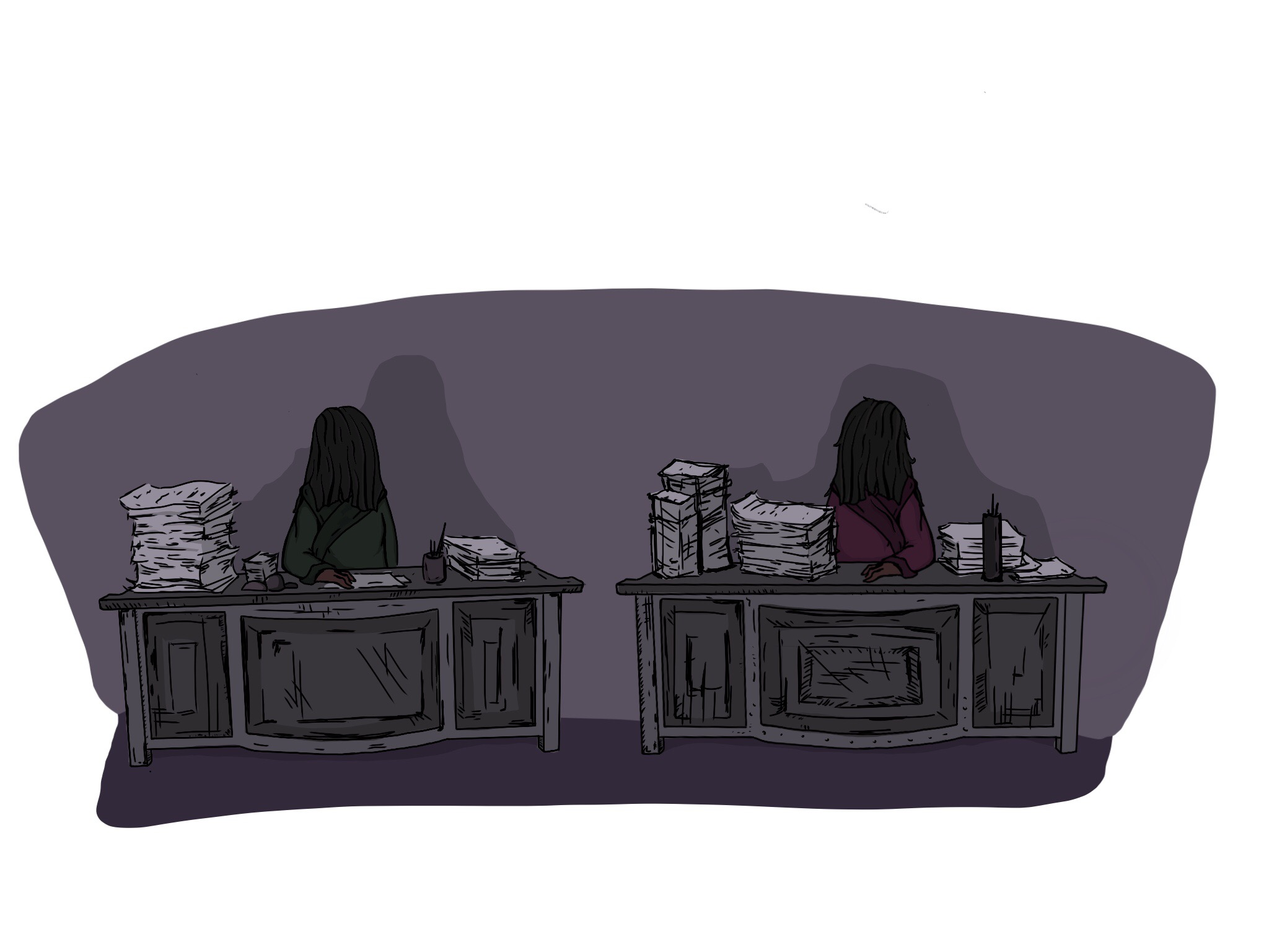Ima  ge: The twin desks in the room faded into view, each one with a child-sized figure behind. Illustrations by Chloe Rubenstein
