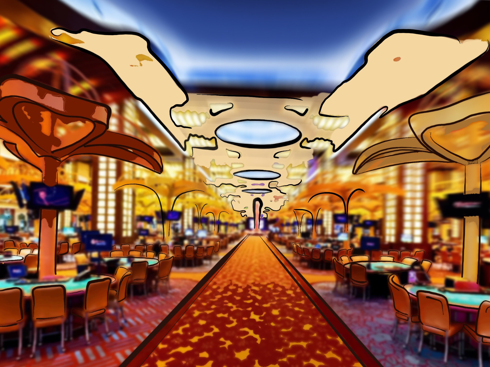 Image: A vast casino filled with cigar smoke and the sounds of playing cards hitting fabric.