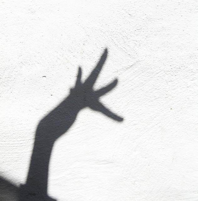[Image description: black and white photograph of the shadow of a hand against a bare concrete wall.]  Alper Çuğun / Creative Commons
