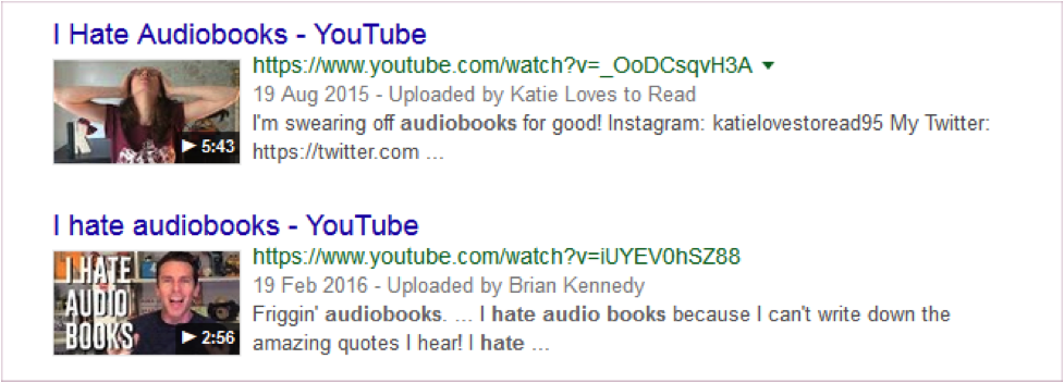 [Image Description: A screenshot from YouTube, showing two videos. The titles read 'I Hate Audiobooks' with colorful thumbnails of angry/excited vloggers]
