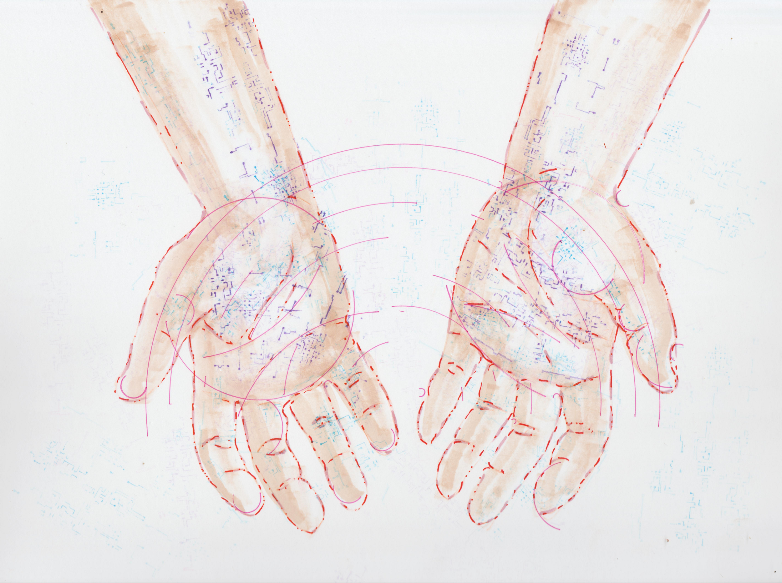Illustration by Tiffany Gomez. Tiffani Gomez is a native Washington, DC artist.You can find her on  Instagram and  Tumblr .  [Image description:An illustration of open, cupped hands, facing downwards, outlined in red, with hints of circuitboard-like veins peaking through.]