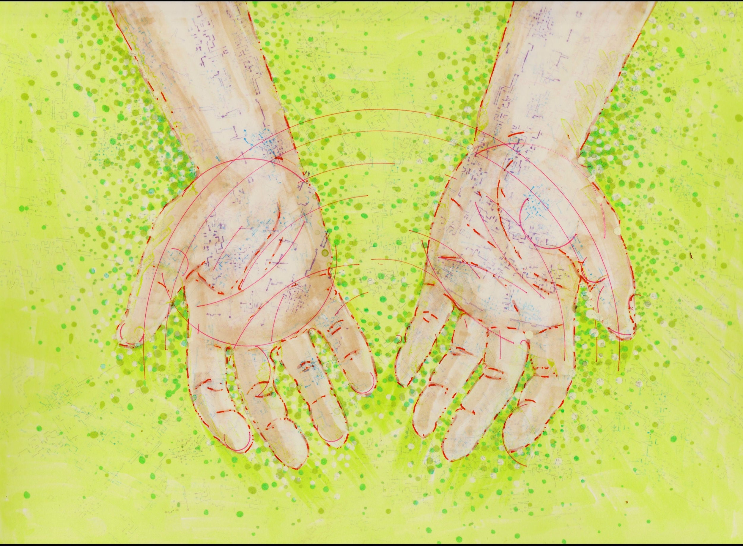 Illustration by Tiffany Gomez. Tiffani Gomez is a native Washington, DC artist.You can find her on  Instagram and  Tumblr .  [Image description:illustration of open, cupped hands,outlined in red, with hints of circuitboard-like veins peaking through. The hands are open over a green field with green dots swirling around them.]