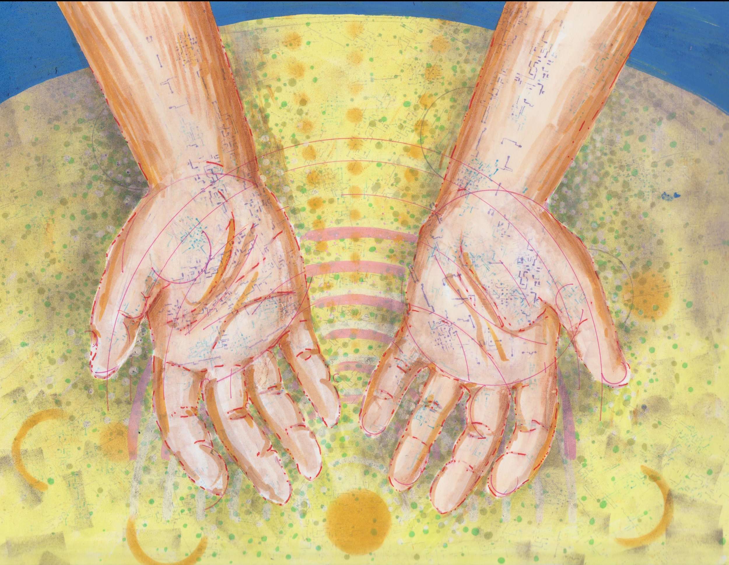 Illustration by Tiffany Gomez. Tiffani Gomez is a native Washington, DC artist.You can find her on  Instagram and  Tumblr .  [Image description:illustration of open, cupped hands with light brown skin and hints of circuitboard-like veins peaking through. The hands are open over a swirling table top covered in dots and patterns]