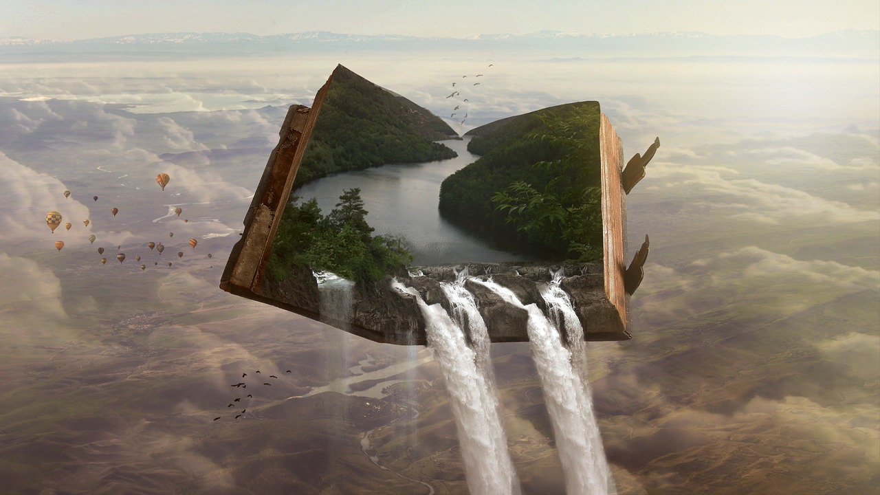 Image Pixabay    [Image Description: A book hovers in the sky, the pages open not to text but another world, a landscape of forest and rivers pouring into the sky and clouds beyond the pages]