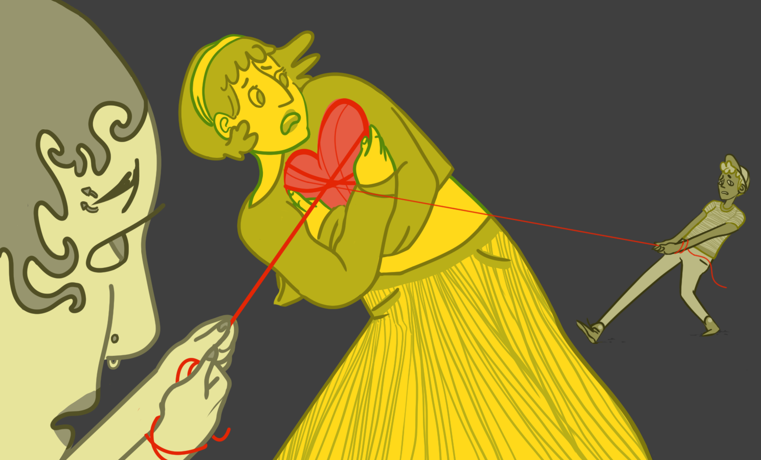 Illustration by Sid Champagne   [Image Description: A femme person stands in the middle of the frame holding a heart tangled in thread, two people at either edge of the picture are pulling on the heartstrings in opposite directions as the center person looks distraught]