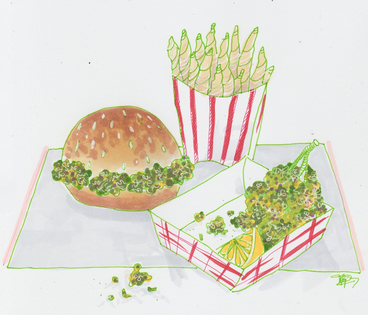 Illustration by Tiffani Gomez   [Image Description: A tray of fast food, burger, fries and chicken tenders, but the fries are pre-rolled joints, the burger filled with nugs of weed and cannabis tenders]
