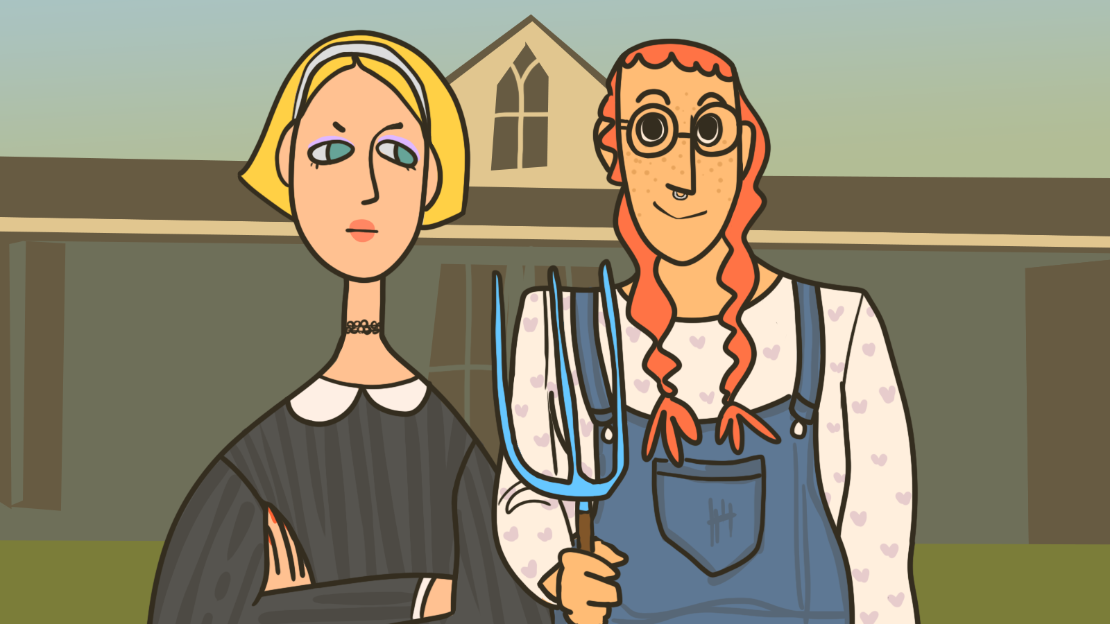 Illustration by Sid Champagne   [Image description: Two people stand in the foreground, emulating the painting American Gothic by Grant Wood. The person to the left has blonde hair, a black dress, and has their arms crossed over their chest-a stern expression on their face. The person to the right has two orange braids, is wearing overalls, and holding a pickaxe and has a smile on their face. In the background is a house]