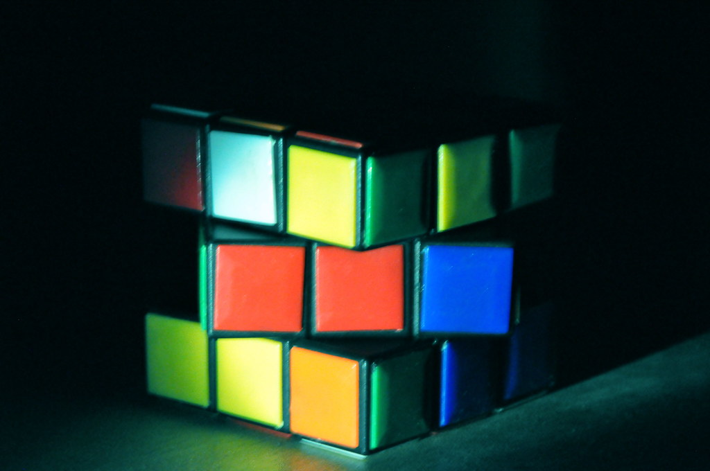 [Image description: blurred photograph of a Rubik's Cube. One of the edges face the camera, and the central section has been twisted around horizontally to be out of line with the rest.]  SAM Nasim / Creative Commons